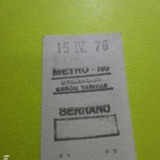 Colecionismos Bilhetes de Transporte: REF: GG-1234 - METRO DE MADRID SERRANO 190 - 1976 - RECTANGULO. Lote 242491550