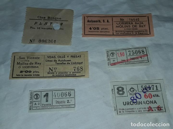 LOTE DE 6 DIFERENTES BILLETES, CINE, METRO Y BUS (Coleccionismo - Billetes de Transporte)
