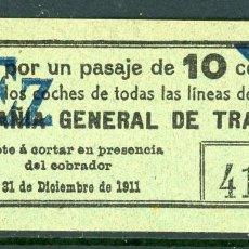 Coleccionismo Billetes de transporte: F06/5- VALE DE CGT // RAREZA R // AÑO 1911. Lote 244655155