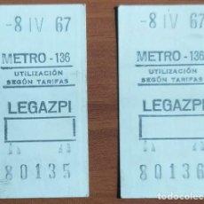 Coleccionismo Billetes de transporte: 2 BILLETES DE METRO DE MADRID CON LA FECHA MAL EXPEDIDA (10 AÑOS DE DIFERENCIA) - AÑO 1977 (LEGAZPI). Lote 244694740