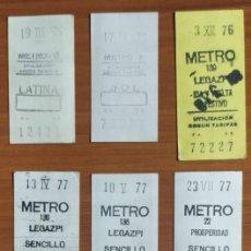 Coleccionismo Billetes de transporte: 9 BILLETES CAPICUA DE METRO DE MADRID (AÑOS 1975, 1976, 1977, 1978 Y 1979), INCLUYENDO UN -99999-. Lote 244695230