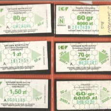 Coleccionismo Billetes de transporte: BILLETES TRANSPORTE, LOTE DE 6, POLONIA-JAWORZNO, BÚS. Lote 245655375