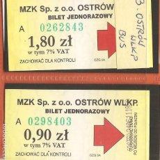 Coleccionismo Billetes de transporte: BILLETES TRANSPORTE, LOTE DE 2, POLONIA-OSTRÓW WIELKOPOLSKI, BÚS. Lote 245655945