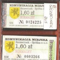Coleccionismo Billetes de transporte: BILLETES TRANSPORTE, LOTE DE 4, POLONIA-SZCZECINEK, BÚS. Lote 245711275