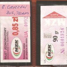 Coleccionismo Billetes de transporte: BILLETES TRANSPORTE, LOTE DE 2, POLONIA-GORZÓW WIELKOPOLSKI, BÚS-TRAM. Lote 245711530