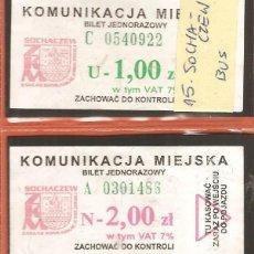 Coleccionismo Billetes de transporte: BILLETES TRANSPORTE, LOTE DE 2, POLONIA-SOCHACZEW, BÚS. Lote 245713365