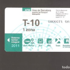 Coleccionismo Billetes de transporte: 1 BILLETE DE TRANSPORTE BARCELONA T-10 1 ZONA AÑO 2011. Lote 246211820