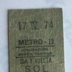Coleccionismo Billetes de transporte: BILLETE DE IDA Y VUELTA, DE METRO DE MADRID. ESTACIÓN 'SOL'. 17 DE ABRIL 1974.. Lote 232167610