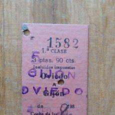 Coleccionismo Billetes de transporte: BILLETE RENFE 1ª CLASE. OVIEDO GIJON. AÑOS 30`S SELLO TODO POR LA PATRIA. 10CTS. VER FOTOS. Lote 248424360