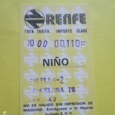 Coleccionismo Billetes de transporte: 1 BILLETE HUGIN RENFE 1988 CALELLA - 2 BARCELONA Tº KMS 49 NIÑO. Lote 289743338