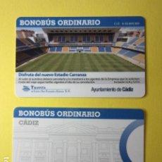 Collectionnisme Billets de transport: TARJETA PLASTICO BONOBUS ORDINARIO TRANVIA DE CADIZ A SAN FERNANDO Y CARRANCA MODELO 2. Lote 249544020