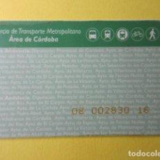 Collectionnisme Billets de transport: TARJETA PLASTICO CONSORCIO TRANSPORTE ANDALUCIA AREA CORDOBA. Lote 249544525