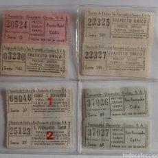 Coleccionismo Billetes de transporte: BILLETES ANTIGUOS DE AUTOBUSES TRANSPORTES GENERALES COMES Y TRANVÍA DE CÁDIZ A SAN FERNANDO. Lote 254582390