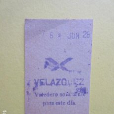 Colecionismos Bilhetes de Transporte: METRO MADRID - MODELO CRUZ O ASPA - PARADA VELAZQUEZ 121. Lote 259230760