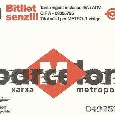 Coleccionismo Billetes de transporte: TMB. BARCELONA XARXA METROPOLITANA. METRO. 2001. 8,5X5,5 CM. BUEN ESTADO. BITLLET SENZILL.. Lote 259305725