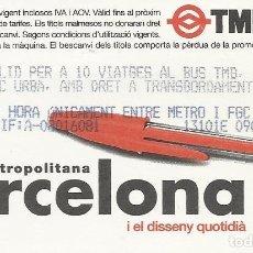 Coleccionismo Billetes de transporte: TMB. BARCELONA XARXA METROPOLITANA. METRO. 2000. 8,5X5,5 CM. BUEN ESTADO. 10 VIATGES. BOLÍGRAFO.. Lote 259306470