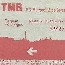 Coleccionismo Billetes de transporte: TMB. BARCELONA XARXA METROPOLITANA. FERROCARRIL. 8,5X5,5 CM. BUEN ESTADO. 10 VIATGES. T-2. 1992.. Lote 259307395