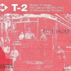 Coleccionismo Billetes de transporte: TMB. FGC. LÍNIA 25. HORTA. 1914. 8,5X5,5 CM. T-2. 1996. METRO. 10 VIATGES.. Lote 259310520