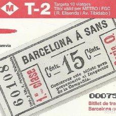 Coleccionismo Billetes de transporte: TMB. FGC. BITLLET DE TRAMVIA DE CAVALLS. BARCELONA. 1880. 8,5X5,5 CM. T-2. 1997. METRO. 10 VIATGES.. Lote 259310925