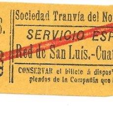 Colecionismos Bilhetes de Transporte: BILLETE DE LA SOCIEDAD TRANVIAS DEL NORTE DE MADRID. Lote 260303880