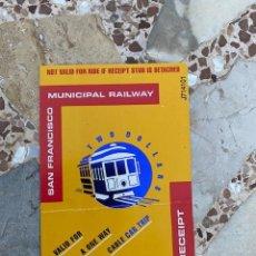 Coleccionismo Billetes de transporte: BILLETE DE TRANSPORTE TRANVÍA SAN FRANCISCO, TICKET MUNICIPAL RAILWAY (3,33 ENVÍO CERTIFICADO). Lote 261871615