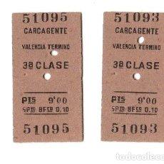 Coleccionismo Billetes de transporte: LOTE DE 2 BILLETES TREN CARCAGENTE VALENCIA 3ª CLASE. Lote 262846590
