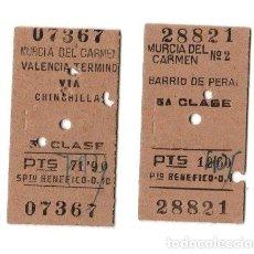 Coleccionismo Billetes de transporte: LOTE DE 2 BILLETES TREN MURCIA DEL CARMEN VALENCIA 3ª CLASE. Lote 262847080