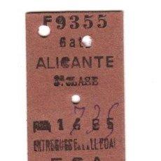 Coleccionismo Billetes de transporte: BILLETE TREN ALICANTE 3ª CLASE. Lote 262847605