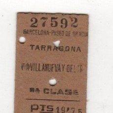 Coleccionismo Billetes de transporte: BILLETE TREN TARRAGONA 3ª CLASE. Lote 262847785