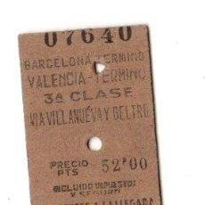 Coleccionismo Billetes de transporte: BILLETE TREN BARCELONA VALENCIA 3ª CLASE. Lote 262847900