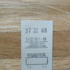 Coleccionismo Billetes de transporte: BILLETE METRO DE MADRID. ESTACION DE CARABANCHEL. 27 DE JUNIO DE 1968. VER FOTOS. Lote 263054125