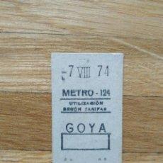 Coleccionismo Billetes de transporte: BILLETE METRO DE MADRID. CAPICUA. ESTACION DE GOYA 7 DE AGOSTO DE 1974. VER FOTOS. Lote 263054325