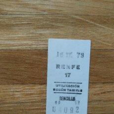 Coleccionismo Billetes de transporte: BILLETE RENFE SENCILLO. 15 DE ABRIL DE 1979. VER FOTOS. Lote 263057360