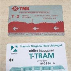 Coleccionismo Billetes de transporte: LOTE 2 BILLETES DE TRANSPORTES 1. TMB T2 SARRIÀ TIBIDABO - 1994 - 2.INAGURAL TRAM 2004. Lote 265157664