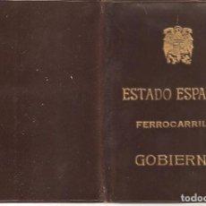 Coleccionismo Billetes de transporte: MADRID 1946 ESTADO ESPAÑOL FERROCARRILES.PASE DE GOBIERNO. PASE ANUAL DE LIBRE CIRCULACIÓN.. Lote 265565359