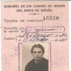 Coleccionismo Billetes de transporte: BILBAO (VIZCAYA) 1940 TARJETA DE IDENTIDAD COMPAÑÍA DE LOS CAMINOS DE HIERRO DEL NORTE DE ESPAÑA.. Lote 265663964