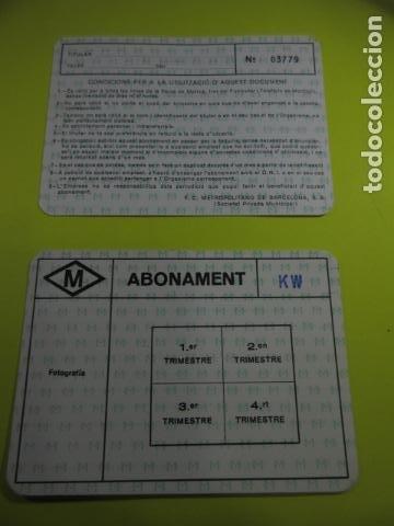 CARNET LIBRE CIRCULACION METRO BARCELONA ANUAL POR TRIMETRES LOGO VERDE (Coleccionismo - Billetes de Transporte)