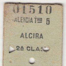 Coleccionismo Billetes de transporte: BILLETE FERROCARRIL TREN VALENCIA TNO 5 ALCIRA 2ª CLASE11,75 PTS SUPLEMENTO BENEFICO 0,10 CAPICUA. Lote 266782664