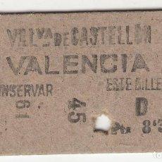 Colecionismos Bilhetes de Transporte: BILLETE FERROCARRIL TREN VILLANUEVA DE CASTELLON VALENCIA 8,30 PTS 10 ABR 34 CAPICUA. Lote 266785154