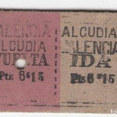 Colecionismos Bilhetes de Transporte: BILLETE FERROCARRIL TREN ALCUDIA VALENCIA IDA VUELTA 6,15 PTS 13 JUN 42 CAPICUA. Lote 266785689