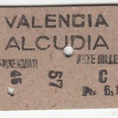 Colecionismos Bilhetes de Transporte: BILLETE FERROCARRIL TREN VALENCIA ALCUDIA 6,15 PTS 6 JUN 61 CAPICUA. Lote 266792734