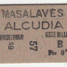Coleccionismo Billetes de transporte: BILLETE FERROCARRIL TREN MASALAVES ALCUDIA 0,95 PTS CAPICUA. Lote 266794084