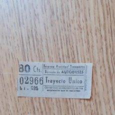 Coleccionismo Billetes de transporte: BILLETES AUTOBUS DE VALENCIA, AÑO 1.945. Lote 268880924