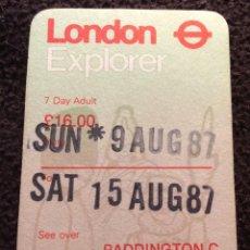 Coleccionismo Billetes de transporte: BILLETE . PASE DE 7 DIAS METRO DE LONDRES. SELLADO EN PADDINGTON. 1987. Lote 270954998