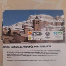 Colecionismos Bilhetes de Transporte: BILLETE AUTOBÚS TORLA ORDESA. Lote 275658723