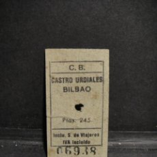 Colecionismos Bilhetes de Transporte: BILLETE DE TREN CASTRO URDIALES - BILBAO. Lote 275665333
