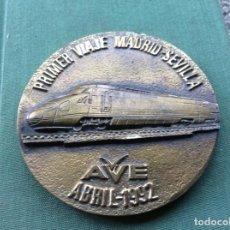 Coleccionismo Billetes de transporte: PLACA PRIMER VIAJE AVE MADRID SEVILLA. Lote 276391328