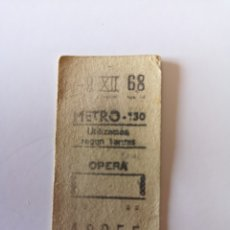 Collectionnisme Billets de transport: TICKET DE METRO DE MADRID METRO - 130 OPERA DEL 9 DE DICIEMBRE DE 1968. Lote 276475308