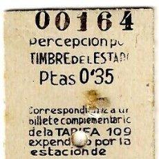 Colecionismos Bilhetes de Transporte: BILLETE DE TREN DESDE LA ESTACIÓN DEL NORTE (BARCELONA) ? A TORELLÓ - 07.03.1942 - 57X30MM - INÉDITO. Lote 276522508