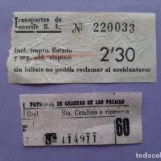 Colecionismos Bilhetes de Transporte: ANTIGUOS BILLETES TRANSPORTE PATRONATO GUAGUAS TENERIFE LAS PALMAS. Lote 276530548